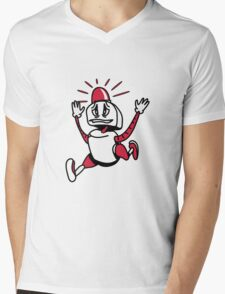 Robot panic funny cool alarm funny comic Mens V-Neck T-Shirt