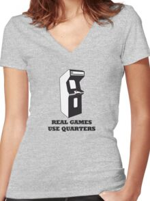 Arcade Quarters 2 Women's Fitted V-Neck T-Shirt