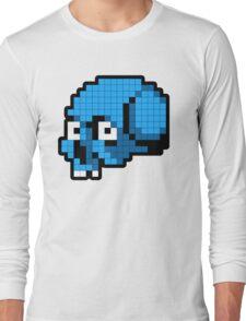 8 Bit Skull - Blue Long Sleeve T-Shirt