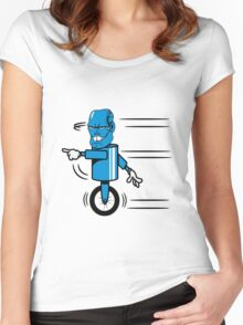 Robot monster funny cool fast funny comic Women's Fitted Scoop T-Shirt