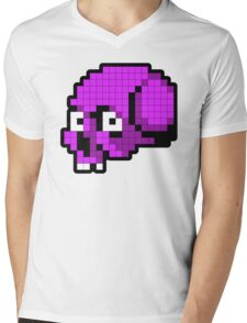 8 Bit Skull - Purple Mens V-Neck T-Shirt
