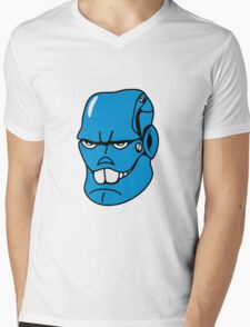 Robot monster cool comic face Mens V-Neck T-Shirt
