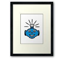 Robot head bulb cool funny funny Framed Print