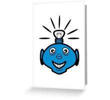 Robot head bulb cool funny funny Greeting Card