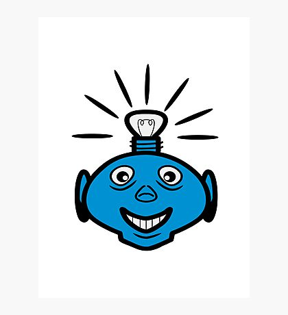 Robot head bulb cool funny funny Photographic Print