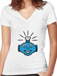 Robot head bulb cool funny funny Women's Fitted V-Neck T-Shirt
