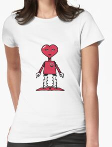 Robot woman's heart Romance love Womens Fitted T-Shirt