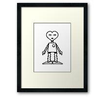 Robot woman's heart Romance love Framed Print