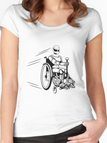 Cool funny robot wheelchair funny Women's Fitted Scoop T-Shirt