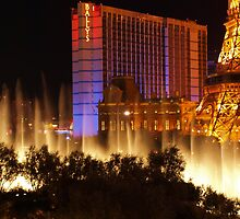 Bellagio Fountains from Rooftop Parking Lot by WestCoastEden