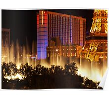 Bellagio Fountains from Rooftop Parking Lot Poster