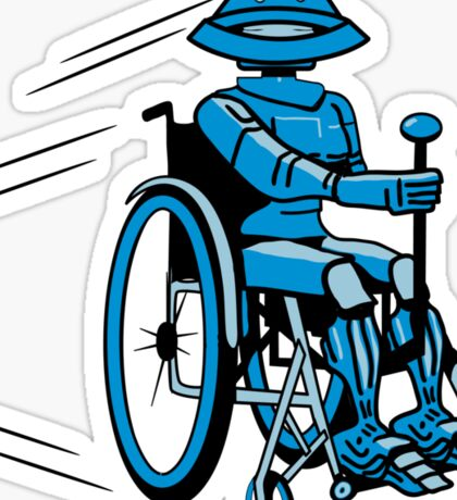 Robot cool tired funny funny wheelchair Sticker