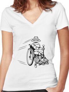 Robot cool tired funny funny wheelchair Women's Fitted V-Neck T-Shirt