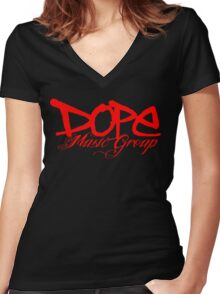 Dope Music Logo RED Women's Fitted V-Neck T-Shirt