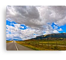 """Clouds and Road"" Utah Canvas Print"