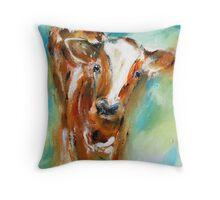 Quizzical calf  Throw Pillow