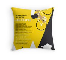 MY TOUR DE FRANCE MINIMAL POSTER 2014-ETAPES Throw Pillow