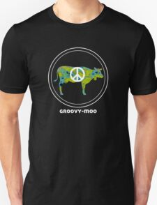 GROOVY MOO t shirt (in planet earth) cow peace love T-Shirt