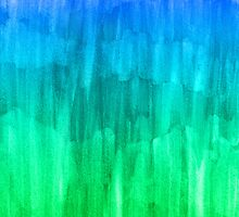 Turquoise, Lime & Indigo Watercolor Abstract by Perrin Le Feuvre