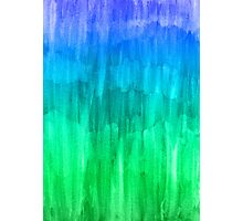Turquoise, Lime & Indigo Watercolor Abstract Photographic Print