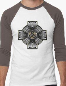 Black Celtic Cross Men's Baseball ¾ T-Shirt