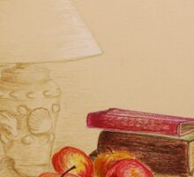 Still life with lamp and apples Sticker