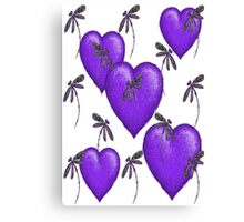 Love Hearts and Dragonflies Purple Canvas Print