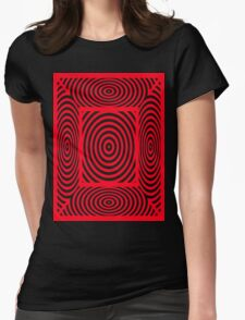Red Round Circular Vortex And Spiders Webs T Shirt Design By Chris McCabe Womens Fitted T-Shirt