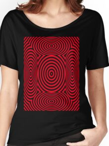 Red Round Circular Vortex T Shirt Design By Chris McCabe Women's Relaxed Fit T-Shirt