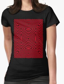 Red Round Circular Vortex T Shirt Design By Chris McCabe Womens Fitted T-Shirt