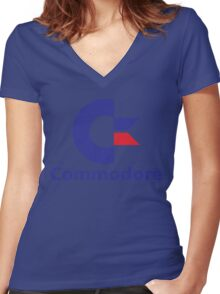 Commodore Logo Women's Fitted V-Neck T-Shirt