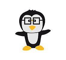 Funny cute nerd geek swag Penguin child Photographic Print