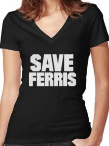 Save Ferris Women's Fitted V-Neck T-Shirt