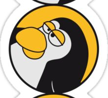 Funny such comic Penguin circle logo Sticker