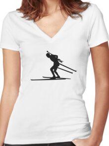 Biathlon skiing Women's Fitted V-Neck T-Shirt