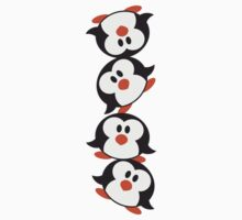 Funny Penguin Tower pattern sweet cute T-Shirt