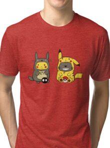 Totoro & Pickachu  Tri-blend T-Shirt