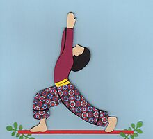 Ardha Virabhadrasana - HALF WARRIOR yoga posture by Marikohandemade
