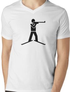 Biathlon logo Mens V-Neck T-Shirt
