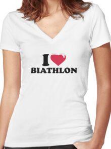 I love Biathlon snow Women's Fitted V-Neck T-Shirt