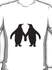 Love couple silhouette in love 2 penguins T-Shirt