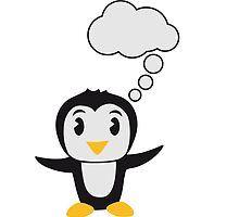 Cute little Penguin child thinking bubble by Style-O-Mat