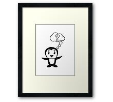 Thought bubble question mark sweet Penguin child Framed Print