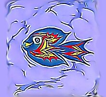 Flying Blue Fish by ozlemdalci