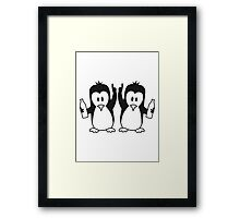 Drunk drinking party team 2 penguins Framed Print