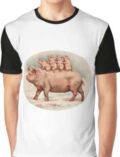 Vintage Mama Pig with Her Piglets Graphic T-Shirt