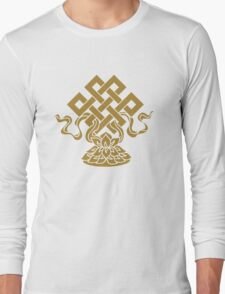 Eternal Knot, Lotus Flower, Buddhism, Auspicious Symbol Long Sleeve T-Shirt