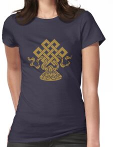 Eternal Knot, Lotus Flower, Buddhism, Auspicious Symbol Womens Fitted T-Shirt