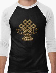 Tibet Endless Knot, Lotus Flower, Buddhism, Eternal Knot Men's Baseball ¾ T-Shirt
