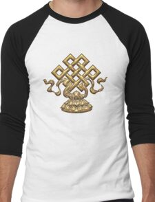 Tibet Endless Knot, Lotus Flower, Buddhism, Eternal Knot Men's Baseball ¾ T-Shirt